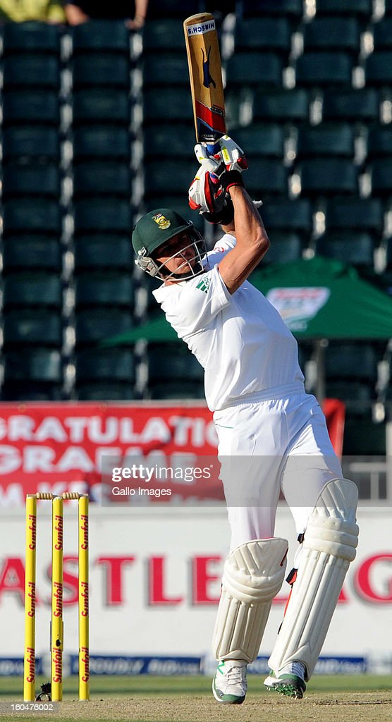 Dale Steyn of South Africa hits out during day 1 of the first Test match between South Africa and Pakistan at Bidvest Wanderers Stadium on February 01, 2013 in Johannesburg, South Africa.