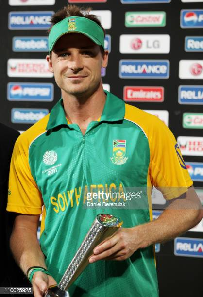 Dale Steyn of South Africa holds the man of the match trophy during the Group B ICC World Cup Cricket match between India and South Africa at...