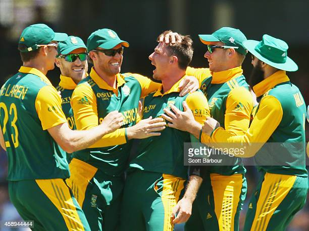 Dale Steyn of South Africa is congratulated by his teammates after dismissing Michael Clarke of Australia during game one of the men's one day...