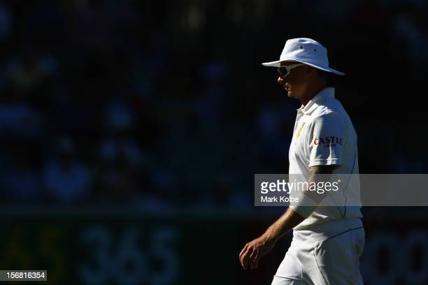 Dale Steyn of South Africa looks on during day one of the 2nd Test match between Australia and South Africa at Adelaide Oval on November 22 2012 in...