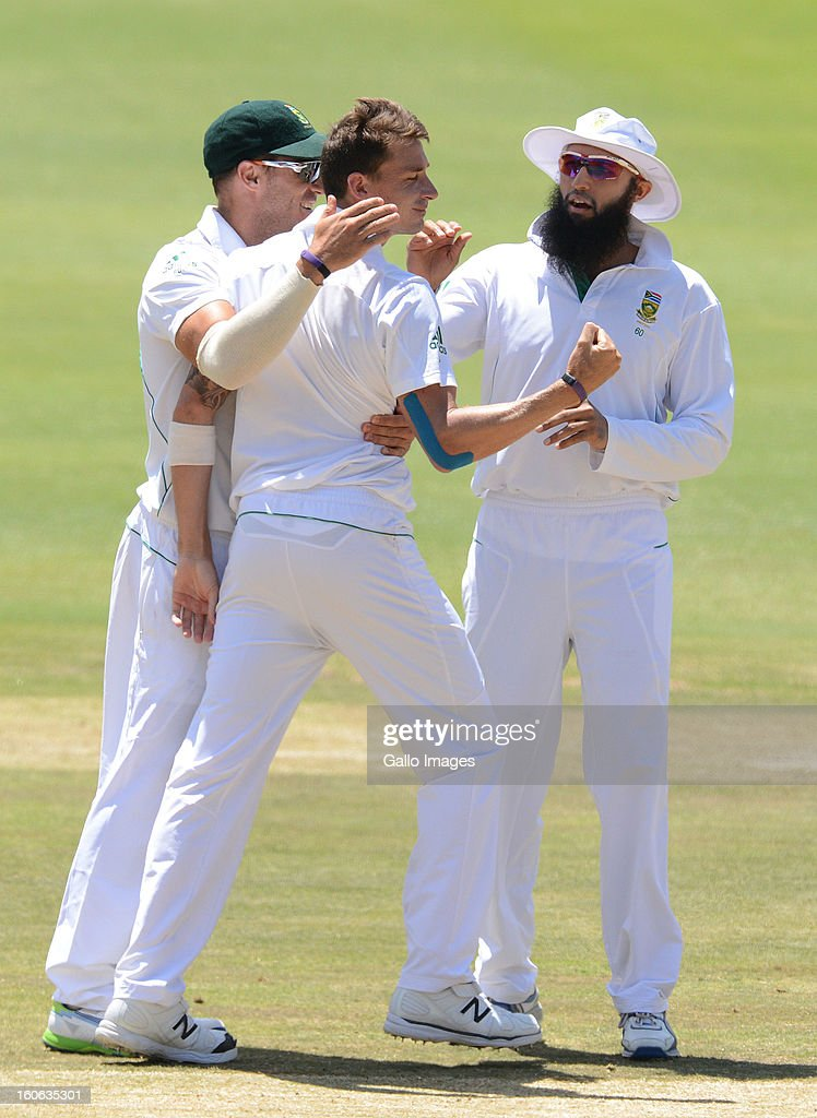 Dale Steyn of South Africa picks up another wicket during day 4 of the 1st Test match between South Africa and Pakistan at Bidvest Wanderers Stadium on February 4, 2013 in Johannesburg, South Africa.