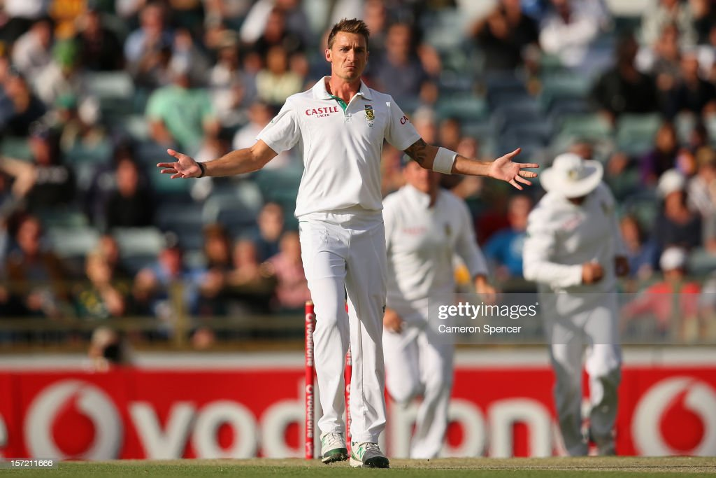 <a gi-track='captionPersonalityLinkClicked' href=/galleries/search?phrase=Dale+Steyn&family=editorial&specificpeople=649553 ng-click='$event.stopPropagation()'>Dale Steyn</a> of South Africa reacts after dismissing Ed Cowan of Australia during day one of the Third Test Match between Australia and South Africa at the WACA on November 30, 2012 in Perth, Australia.