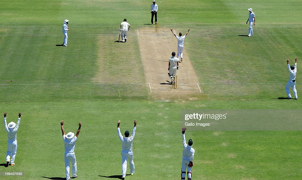 Dale Steyn of South Africa takes another wicket during day 3 of the 2nd Test match between South Africa and New Zealand at Axxess St Georges on January 13, 2013 in Port Elizabeth, South Africa