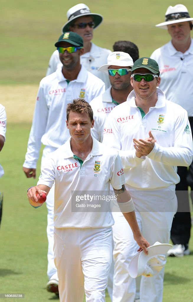 Dale Steyn of South Africa walks off with figures of 11/60 during day 4 of the 1st Test match between South Africa and Pakistan at Bidvest Wanderers Stadium on February 4, 2013 in Johannesburg, South Africa.