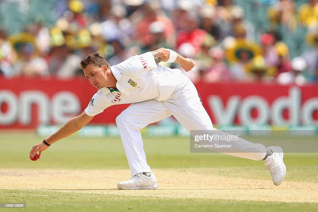 Dale Steyne of South Africa fields off his own delivery during day four of the Second Test Match between Australia and South Africa at Adelaide Oval on November 25, 2012 in Adelaide, Australia.