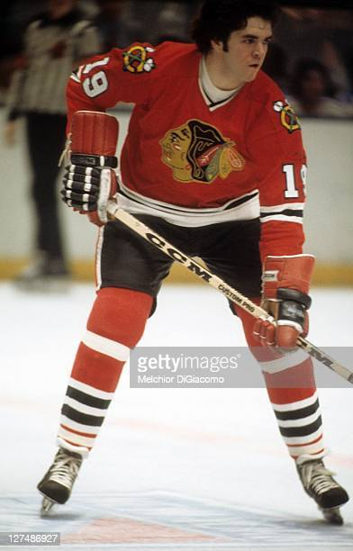Dale Tallon of the Chicago Blackhawks skates on the ice during an NHL game against the New York Rangers on December 16 1973 at the Madison Square...
