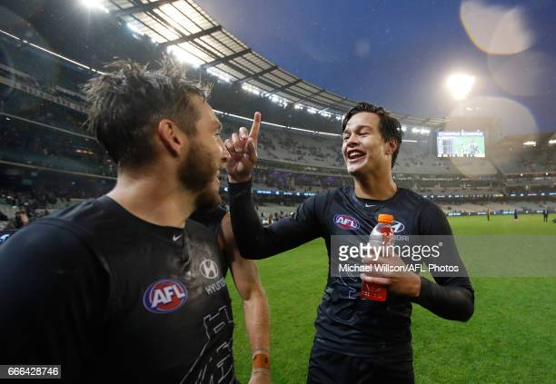 Dale Thomas and Jack Silvagni of the Blues celebrate during the 2017 AFL round 03 match between the Carlton Blues and the Essendon Bombers at the...
