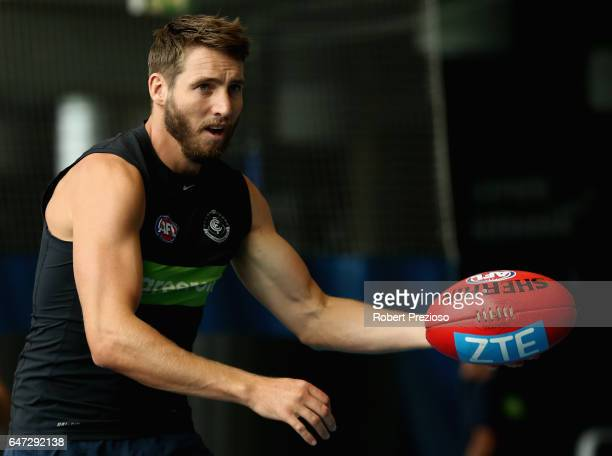 Dale Thomas gathers the ball during a Carlton Blues AFL media opportunity at Ikon Park on March 3 2017 in Melbourne Australia