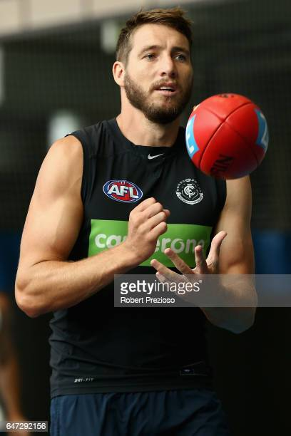 Dale Thomas handballs during a Carlton Blues AFL media opportunity at Ikon Park on March 3 2017 in Melbourne Australia