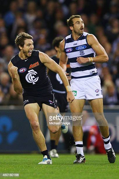 Dale Thomas of the Blues celebrates a goal during the round 12 AFL match between the Geelong Cats and the Carlton Blues at Etihad Stadium on June 6...