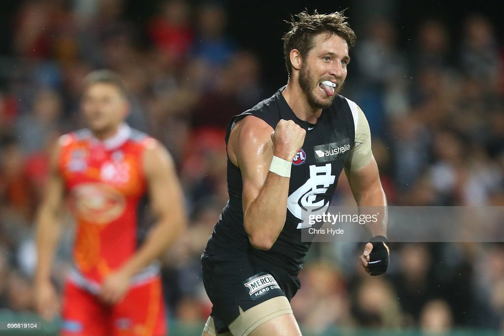 Dale Thomas of the Blues celebrates a goal during the round 13 AFL match between the Gold Coast Suns and the Carlton Blues at Metricon Stadium on June 17, 2017 in Gold Coast, Australia.