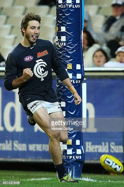 Dale Thomas of the Blues celebrates a goal during the round 15 AFL match between the Collingwood Magpies and the Carlton Blues at Melbourne Cricket...