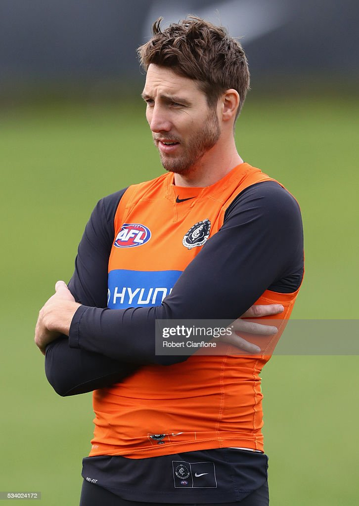 <a gi-track='captionPersonalityLinkClicked' href=/galleries/search?phrase=Dale+Thomas&family=editorial&specificpeople=541128 ng-click='$event.stopPropagation()'>Dale Thomas</a> of the Blues looks on during a Carlton Blues AFL training session at Ikon Park on May 25, 2016 in Melbourne, Australia.