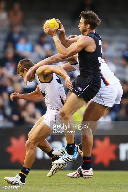 Dale Thomas of the Blues marks the ball during the round three AFL NAB Challenge match between the Carlton Blues and the Adelaide Crows at Etihad...