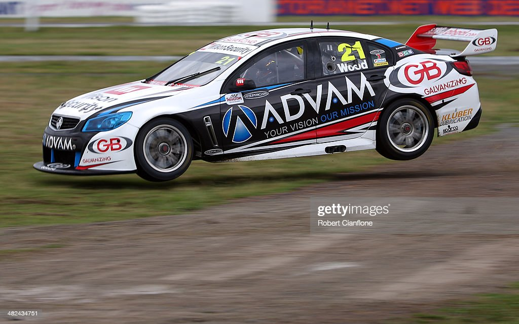 Dale Wood drives the ADVAM/GB Holden off the track during practice for the Winton 400 which is round three of the V8 Super Championship Series at...