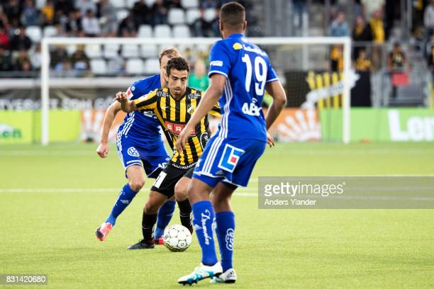 Daleho Irandust of BK Hacken controls the ball during the Allsvenskan match between BK Hacken and GIF Sundsvall at Bravida Arena on August 14 2017 in...