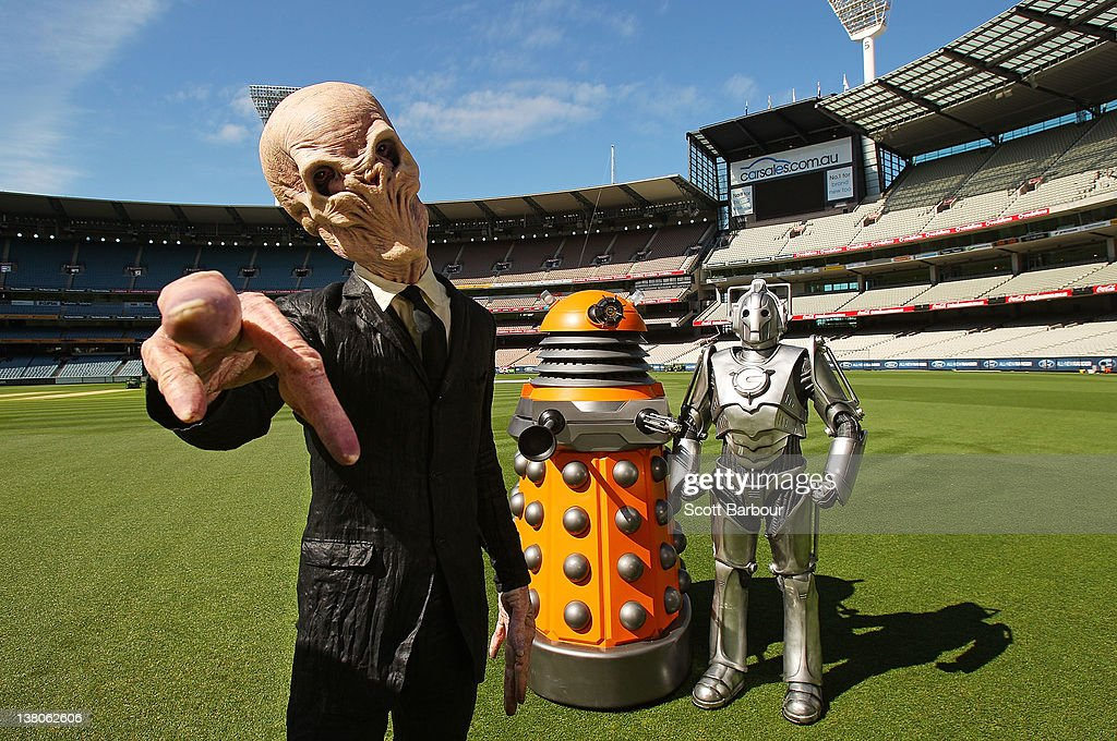 Dalek a Cyberman and a Silent invade the Melbourne Cricket Ground on February 2 2012 in Melbourne Australia The Doctor Who Daleks this weekend are...
