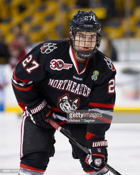 Dalen Hedges of the Northeastern University Huskies warms up before NCAA hockey action against the Harvard Crimson in the semifinals of the annual...