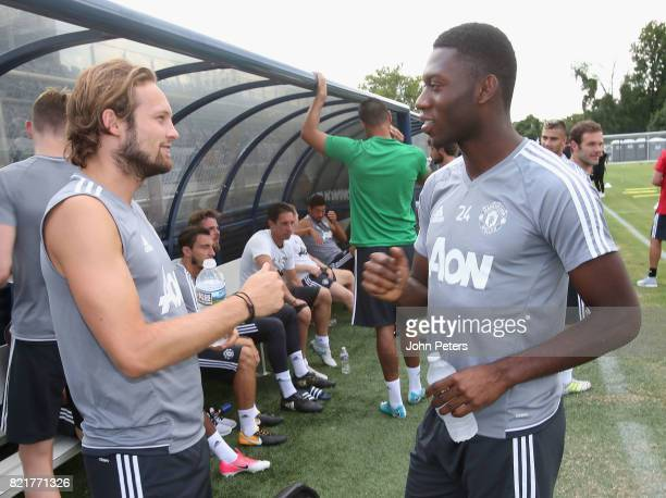 Daley Blind and Timothy FosuMensah of Manchester United in action during a first team training session as part of their preseason tour of the USA at...