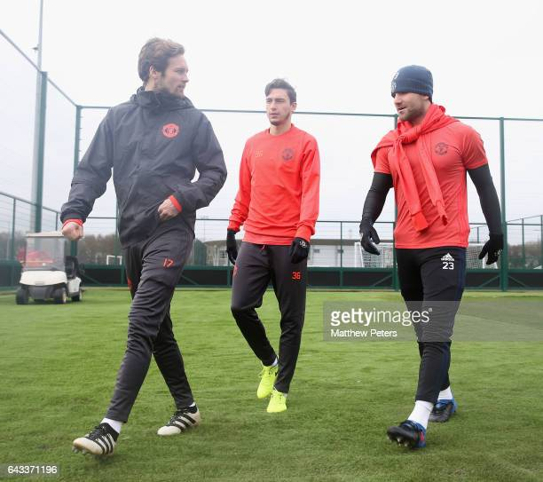 Daley Blind Matteo Darmian and Luke Shaw of Manchester United in action during a first team training session at Aon Training Complex on February 21...