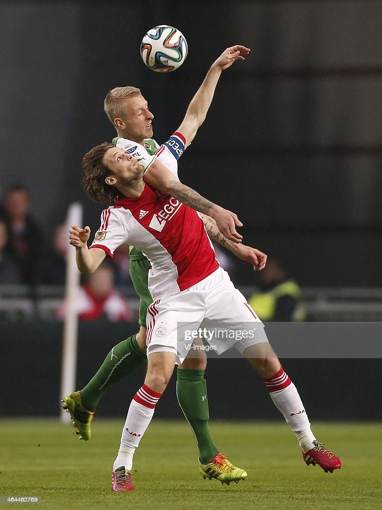 Daley Blind of Ajax Lex Immers of Feyenoord during the Dutch cup match between Ajax Amsterdam and Feyenoord at Amsterdam Arena on January 22 2014 in...