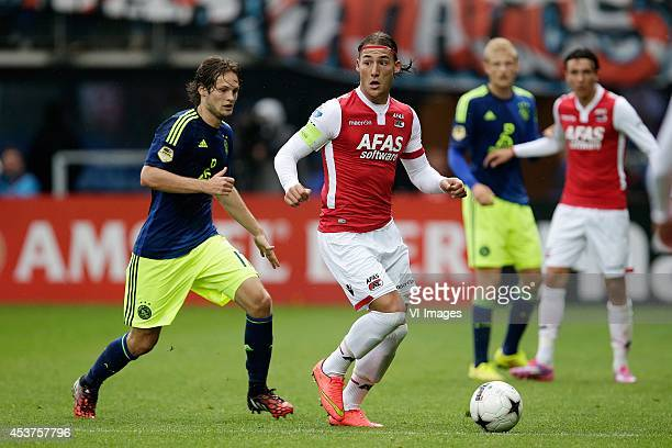 Daley Blind of Ajax Nemanja Gudelj of AZ Alkmaar during the Dutch Eredivisie match between AZ Alkmaar and Ajax Amsterdam at AFAS stadium on August 17...