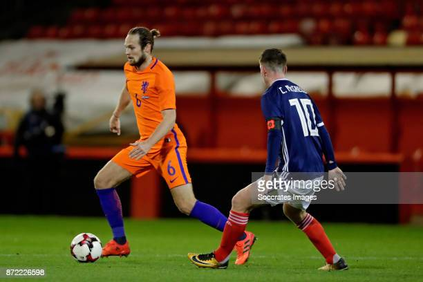 Daley Blind of Holland Callum McGregor of Scotland during the International Friendly match between Scotland v Holland at the Pittodrie Stadium on...