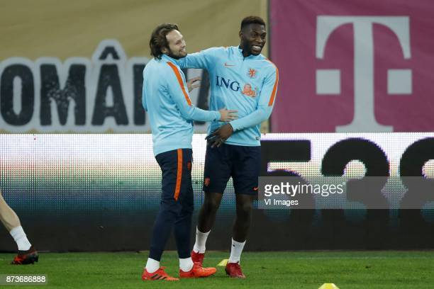 Daley Blind of Holland Timothy FosuMensah of Holland during a training session prior to the friendly match between Romania and The Netherlands on...