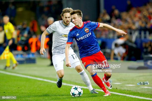 Daley Blind of Manchester United and Aleksandr Golovin of CSKA Moscow in action during the UEFA Champions League match between CSKA Moscow and...