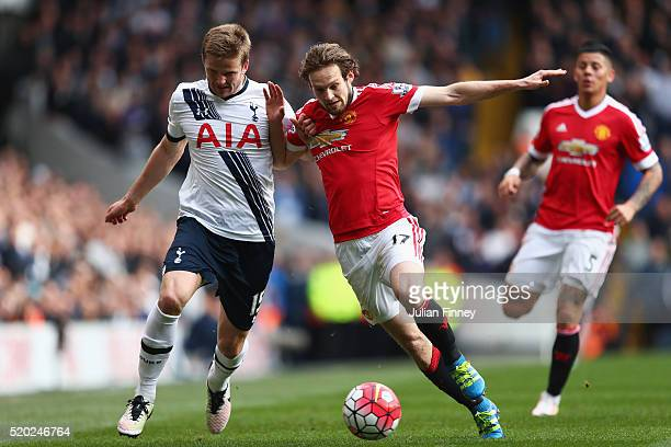Daley Blind of Manchester United and Eric Dier of Tottenham Hotspur battle for the ball during the Barclays Premier League match between Tottenham...