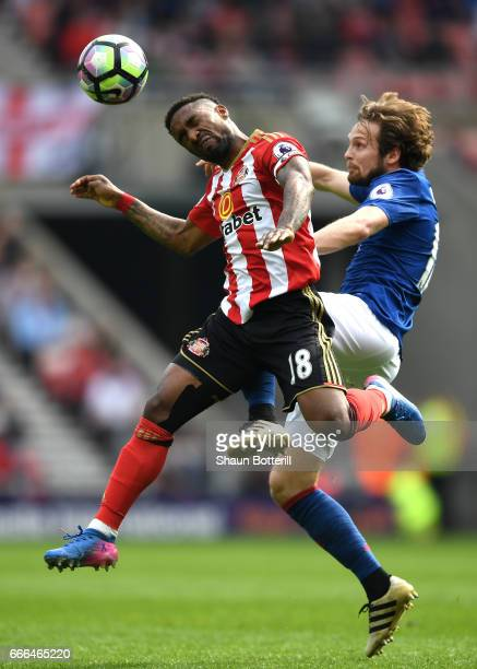 Daley Blind of Manchester United and Jermain Defoe of Sunderland battle for the ball during the Premier League match between Sunderland and...