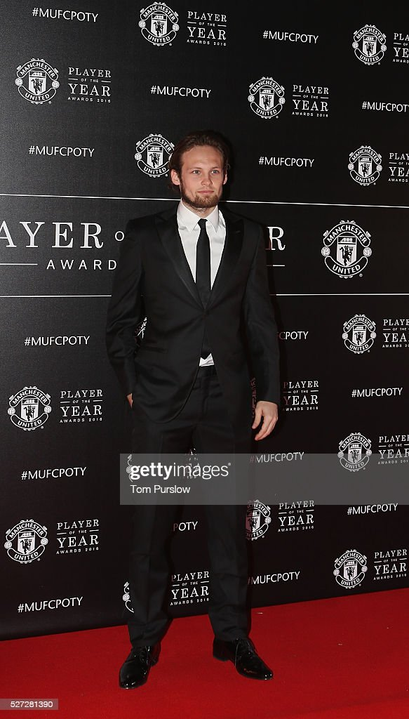 Daley Blind of Manchester United arrives at the club's annual Player of the Year awards at Old Trafford on May 2, 2016 in Manchester, England.