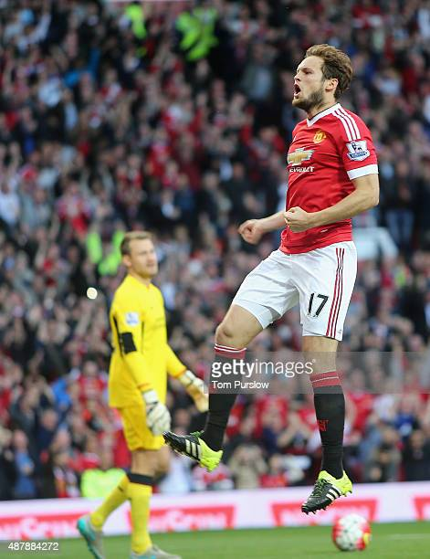 Daley Blind of Manchester United celebrates scoring their first goal during the Barclays Premier League match between Manchester United and Liverpool...