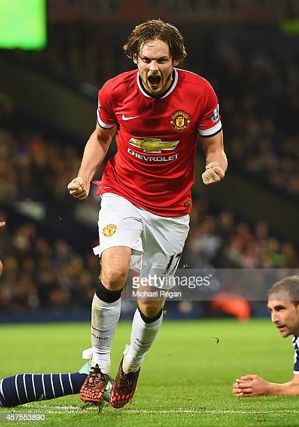 Daley Blind of Manchester United celebrates scoring their second and equalising goal during the Barclays Premier League match between West Bromwich...