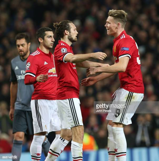 Daley Blind of Manchester United celebrates scoring their second goal during the UEFA Champions League group A match between Manchester United and SL...