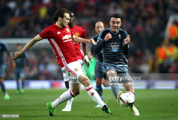 Daley Blind of Manchester United closes down Iago Aspas of Celta Vigo during the UEFA Europa League semi final second leg match between Manchester...