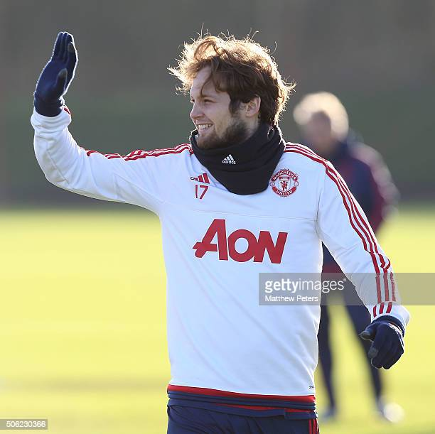Daley Blind of Manchester United in action during a first team training session at Aon Training Complex on January 22 2016 in Manchester England