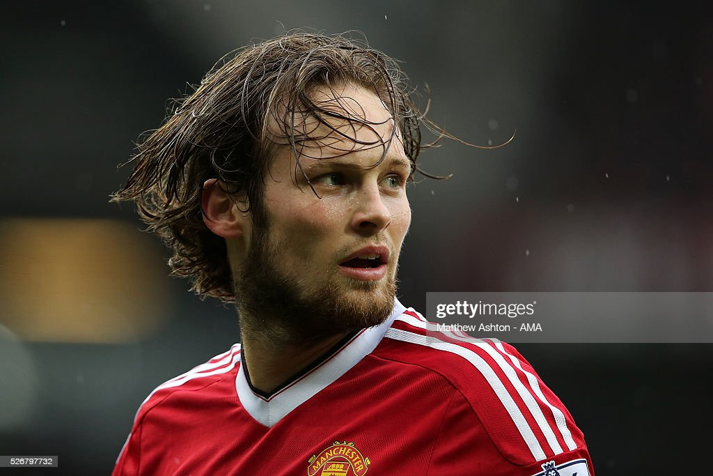 <a gi-track='captionPersonalityLinkClicked' href=/galleries/search?phrase=Daley+Blind&family=editorial&specificpeople=5566498 ng-click='$event.stopPropagation()'>Daley Blind</a> of Manchester United looks on during the Barclays Premier League match between Manchester United and Leicester City at Old Trafford on May 1, 2016 in Manchester, United Kingdom.