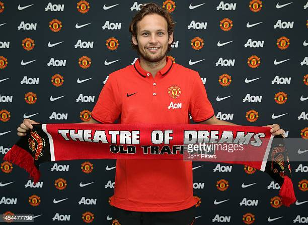 Daley Blind of Manchester United poses after signing for the club at Aon Training Complex on August 31 2014 in Manchester England