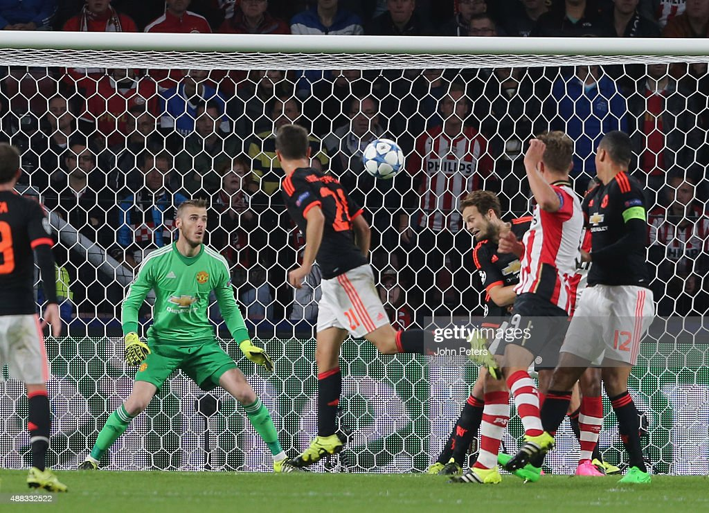 Daley Blind of Manchester United scores an own-goal during the UEFA Champions League match between PSV Eindhoven and Manchester United at Philips Stadion on September 15, 2015 in Eindhoven, Netherlands.