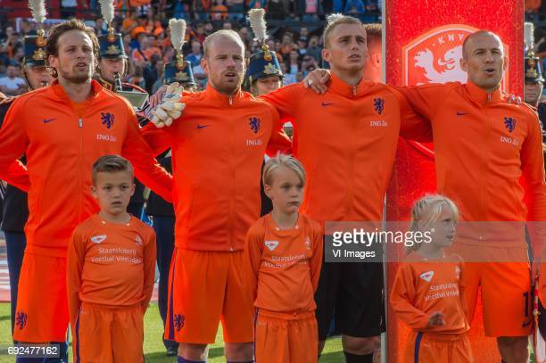 Daley Blind of The Netherlands Davy Klaassen of The Netherlands goalkeeper Jasper Cillessen of The Netherlands Arjen Robben of The Netherlandsduring...