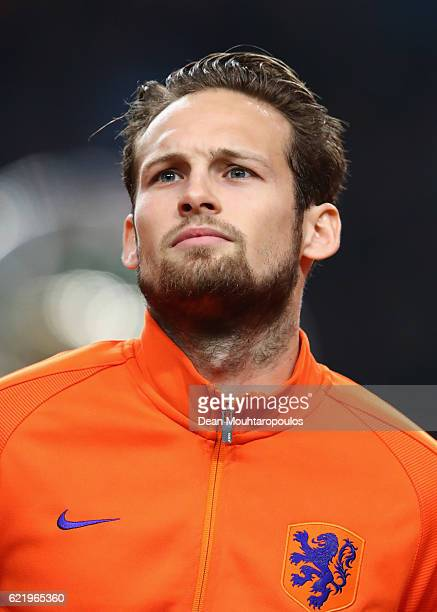 Daley Blind of the Netherlands looks on prior to the international friendly match between Netherlands and Belgium at Amsterdam Arena on November 9...