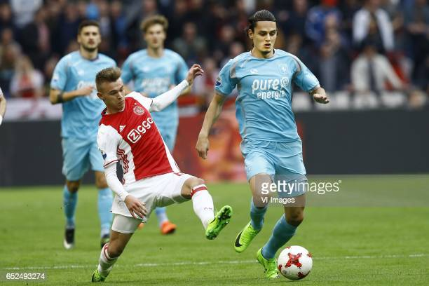 Daley Sinkgraven of Ajax Amsterdam Enes Unal of FC Twenteduring the Dutch Eredivisie match between Ajax Amsterdam and FC Twente Enschede at the...