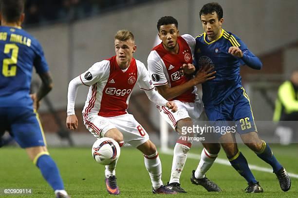 Daley Sinkgraven of Ajax Amsterdam Jairo Riedewald of Ajax Amsterdam Giuseppe Rossi of Celta de Vigoduring the UEFA Europa League group G match...