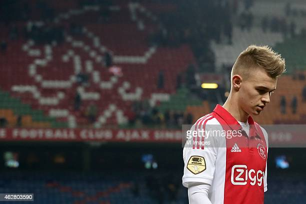 Daley Sinkgraven of Ajax during the Dutch Eredivisie match between Ajax Amsterdam and AZ Alkmaar at the Amsterdam Arena on February 5 2015 in...