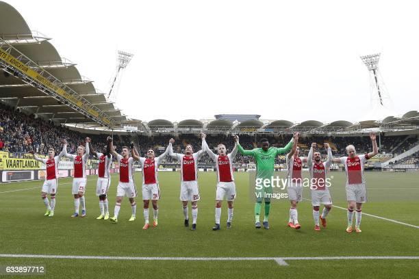 Daley Sinkgraven of Ajax Kasper Dolberg of Ajax Davinson Sanchez of Ajax Joel Veltman of Ajax Abdelhak Nouri of Ajax Lasse Schone of Ajax Donny van...