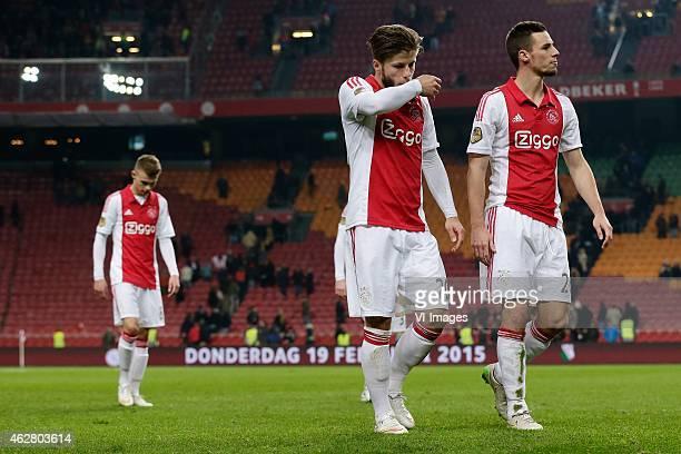 Daley Sinkgraven of Ajax Lasse Schone of Ajax Nick Viergever of Ajax during the Dutch Eredivisie match between Ajax Amsterdam and AZ Alkmaar at the...