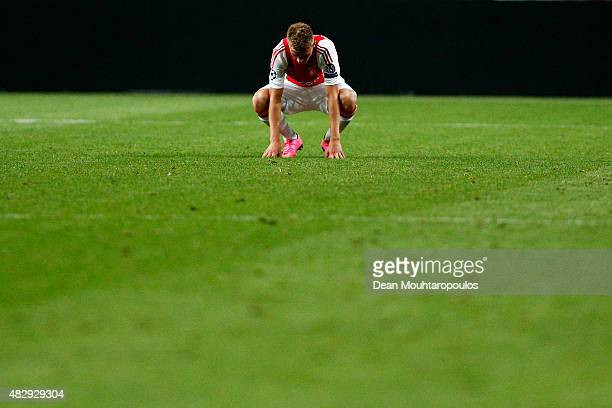 Daley Sinkgraven of Ajax looks to the ground dejected during the third qualifying round 2nd leg UEFA Champions League match between Ajax Amsterdam...
