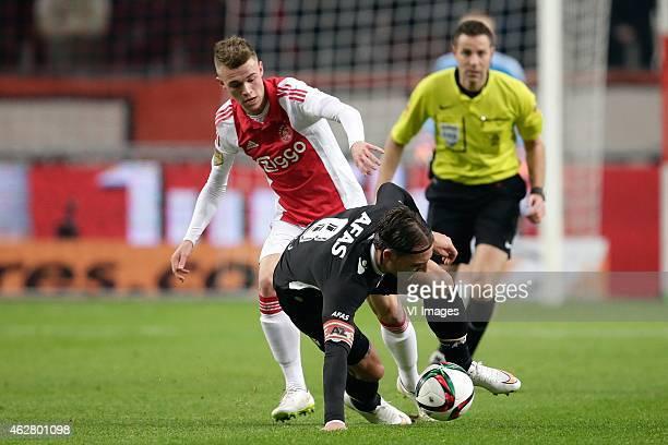 Daley Sinkgraven of Ajax Nemanja Gudelj of AZ Alkmaar during the Dutch Eredivisie match between Ajax Amsterdam and AZ Alkmaar at the Amsterdam Arena...
