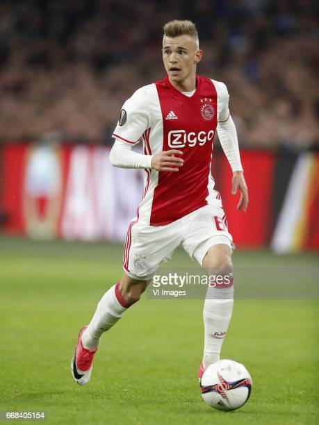 Daley Sinkgraven of Ajaxduring the UEFA Europa League quarter final match between Ajax Amsterdam and FC Schalke 04 at the Amsterdam Arena on April 13...